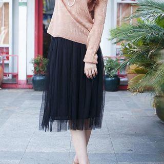 Mesh Tulle Midi Skirt