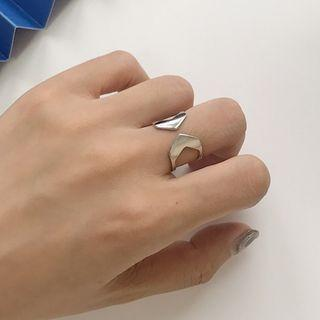 925 Sterling Silver Layered Open Ring K683 - Silver - One Size