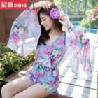 Floral Print Bell-sleeve Chiffon Playsuit