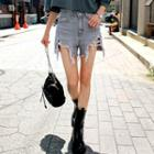 Fringed Cutout Denim Shorts
