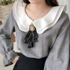 Layered Ruffle-collar Glen-plaid Blouse