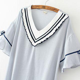 Short Sleeve Contrast Trim V-neck Top