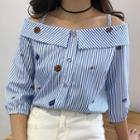 Elbow-sleeve Striped Cold-shoulder Blouse