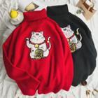 Turtleneck Lucky-cat Knit Sweater