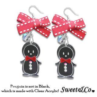 Lovely Red Ribbon & Bowtie Penguin Earrings