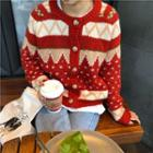 Christmas Open Front Knit Cardigan