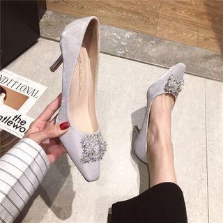 Rhinestone Buckled High-heel Sandals
