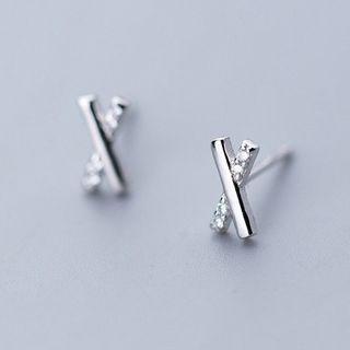 925 Sterling Silver Rhinestone Cross Stud Earring 1 Pair - As Shown In Figure - One Size