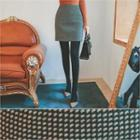 Patterned Wool Blend Mini Skirt