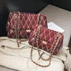 Chain Detail Argyle Flap Shoulder Bag