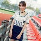 Panel Piped Short-sleeve T-shirt