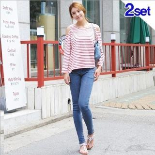 Set: Cut-away Shoulder Stripe Top + Skinny Jeans