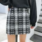 Plaid Tweed A-line Skirt