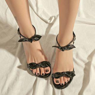 Bow-accent Ankle Strap Block Heel Sandals