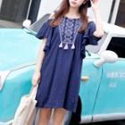 Cutout-shoulder Embroidery Tassel A-line Dress