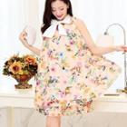 Sleeveless Bow-neck Patterned Dress