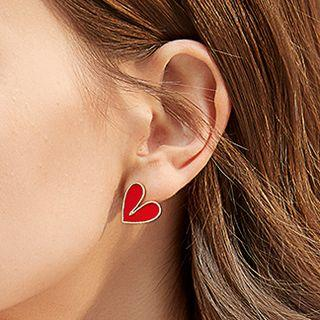 Heart Stud Earring 1 Pair - Gold - One Size