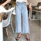 Irregular Tassel Cropped Jeans