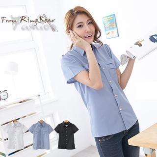 Dual-pocket Short-sleeve Blouse