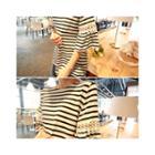 Lace-detail Striped T-shirt