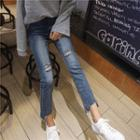 High-waist Distressed Slim-fit Cropped Jeans