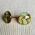 Resin Ribbon Earrings (mint) One Size