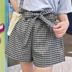 Gingham-check Shorts With Sash