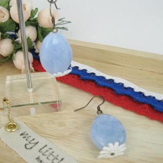 Elegant Lace Bead Earrings(blue)