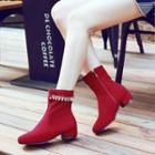 Faux-suede Beaded Ankle Boots