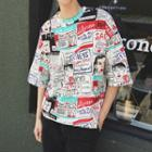 Elbow-sleeve All Over Print T-shirt