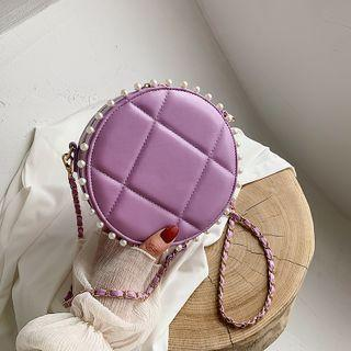 Faux Pearl Quilted Faux Leather Round Crossbody Bag