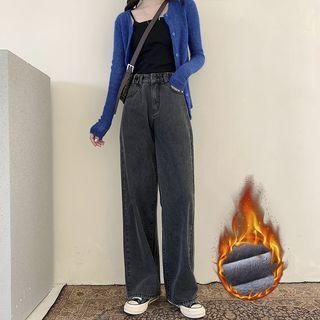 Fleece-lined High-waist Shift Jeans