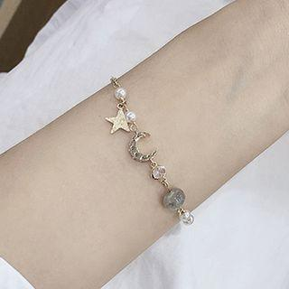 Rhinestone Moon & Star Bracelet 1pc - Bracelet - Crescent & Star - One Size