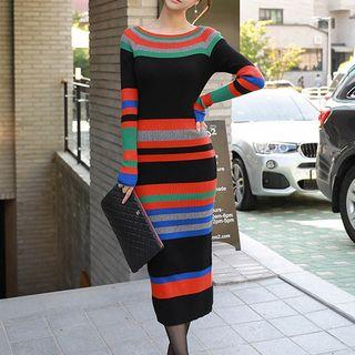 Knit Long-sleeve Stripe Midi Sheath Dress As Shown In Figure - One Size