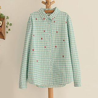 Heart Embroidered Gingham Shirt