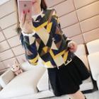 Paneled Patterned Sweater
