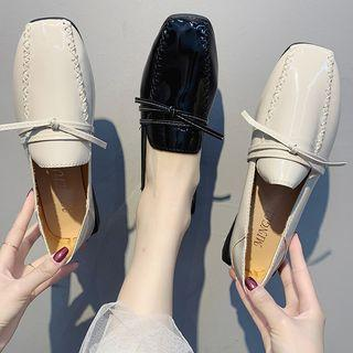Patent Square-toe Bow Flats