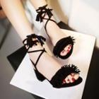 Tasseled Ankle Strap Block Heel Sandals