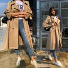 Double-breasted Plain Trench Coat With Sash