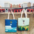 Canvas Embroidered Crossbody Tote