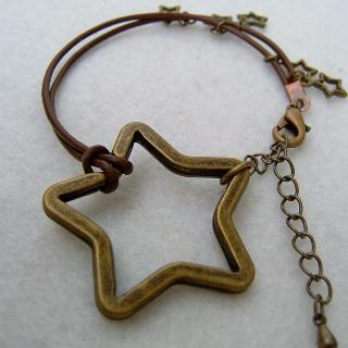 Copper Stars Leather Bracelet Copper - One Size