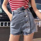 Asymmetrical Washed Denim Shorts
