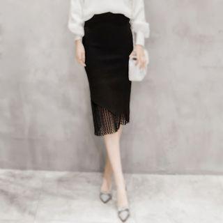 Pleated Lace Hem Midi Skirt