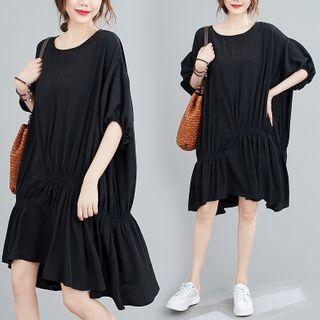 Elbow-sleeve Irregular A-line Dress Black - One Size