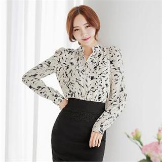 Patterned Long-sleeve Blouse