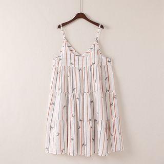 Sleeveless Striped Tiered Dress