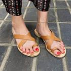Toe-loop Cross-strap Slide Sandals