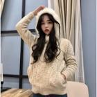 Furry Trim Hooded Knit Jacket
