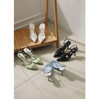 Pointy Sheer-panel Slingback Stilettos