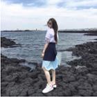 Layered Midi A-line Skirt